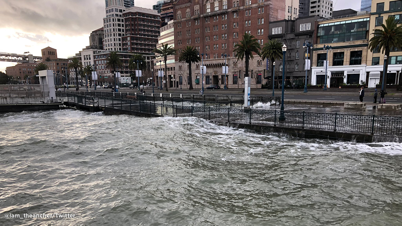 High tides cause flooding on the Embarcadero in San Francisco. Jan. 5, 2019.