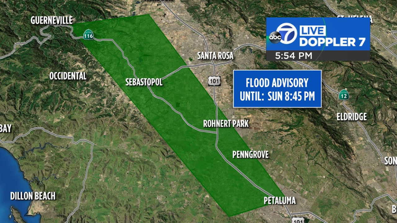 This image shows a map of areas in the North Bay under a Flood Advisory on Sunday, Jan, 6, 2019.