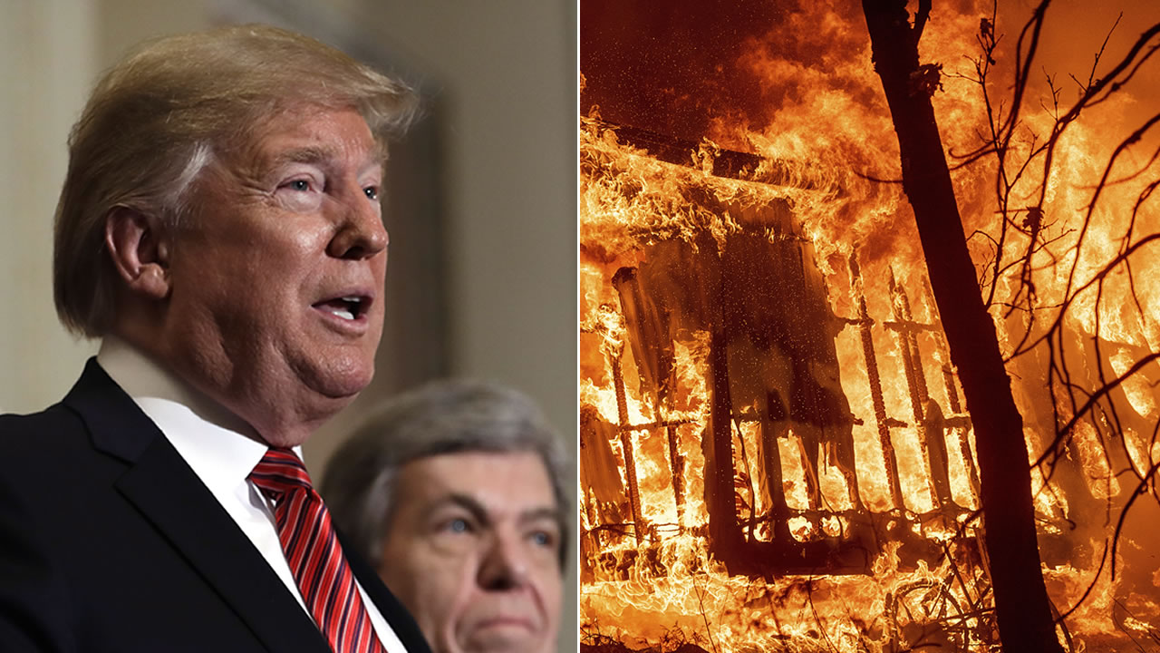 President Donald Trump is pictured next to a fire from the Camp FIre.