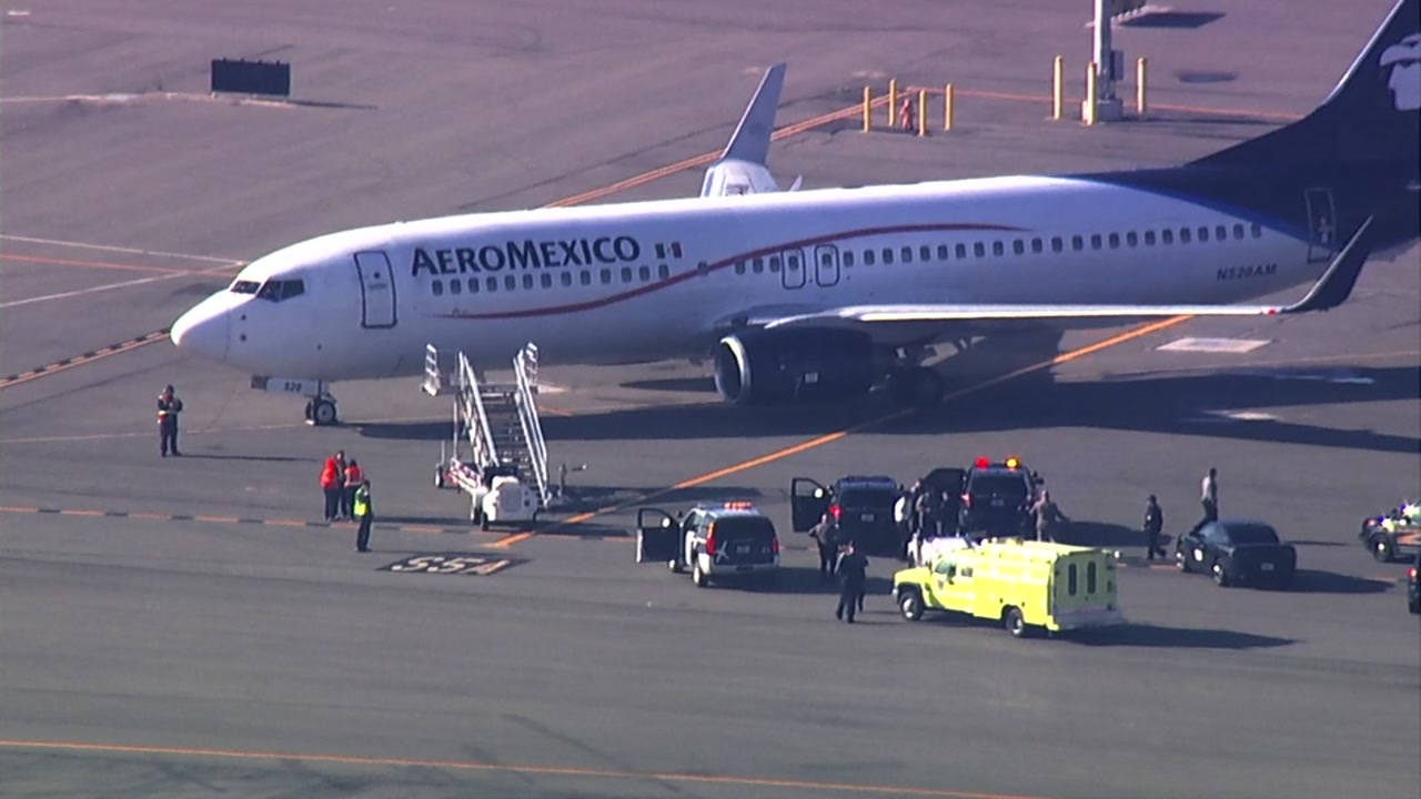 An Aeromexico flight sits on the tarmac at Oakland International Airport on Thursday, Jan. 10, 2019.