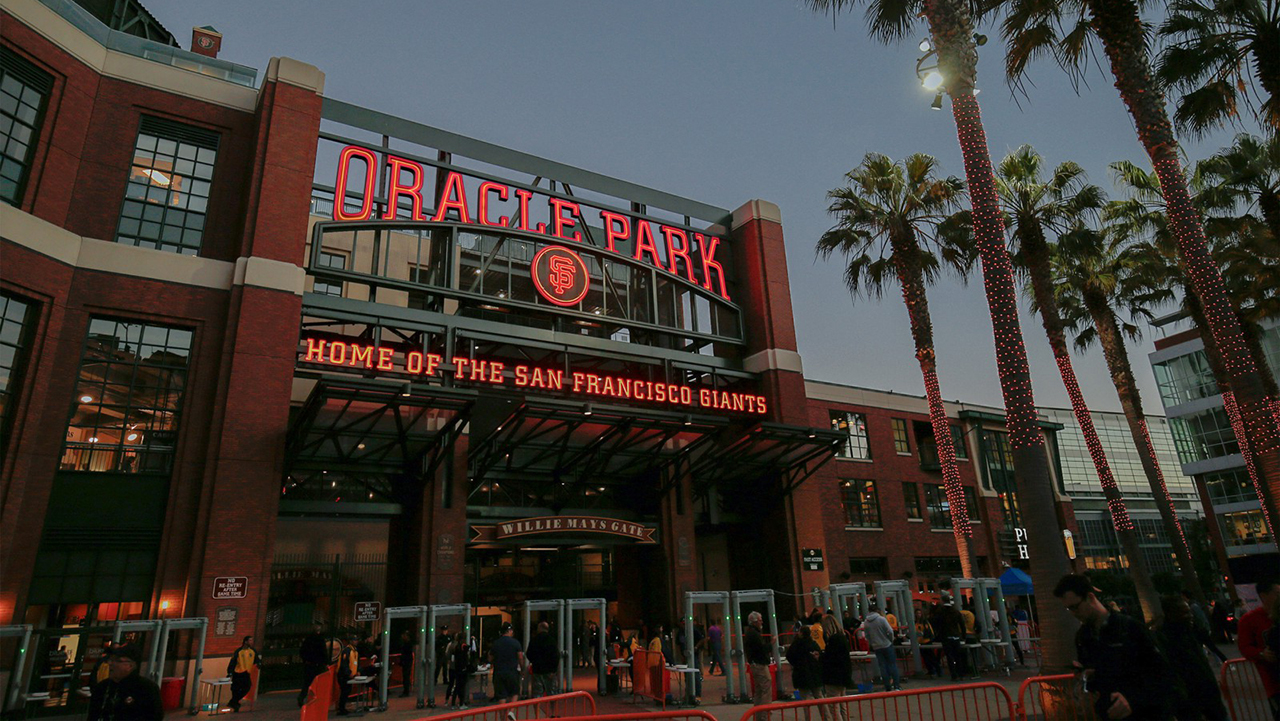 Artist rendering of Oracle Park sign in San Francisco.