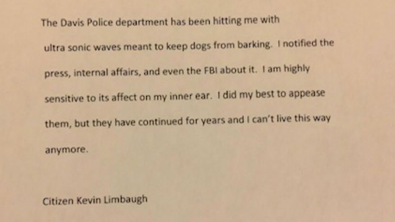 Davis Police released this letter on Saturday, Jan, 12, 2019, which they say was written by the man accused of killing a rookie officer before killing himself.