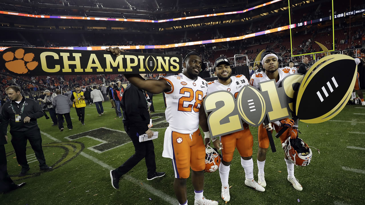 Clemson players celebrate after the NCAA college football playoff championship game against Alabama, Monday, Jan. 7, 2019, in Santa Clara, Calif.