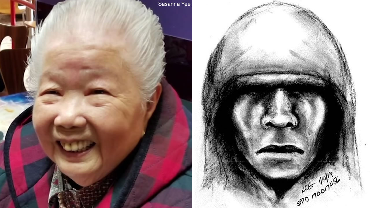 A sketch was released on Tuesday, Jan. 15, 2019 of a man suspected in the attack of Yik Oi Huang in San Francisco.