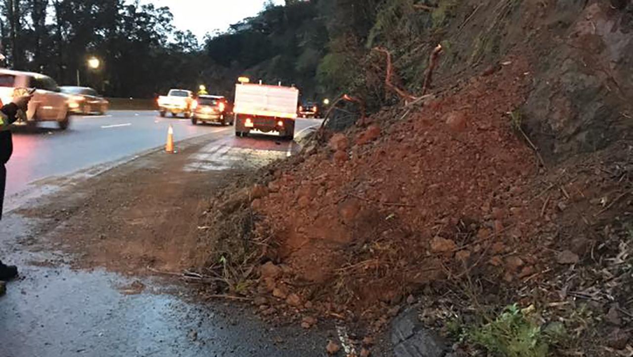Mudslide on Highway 101 in Sausalito, California on Wednesday, January 16, 2019.