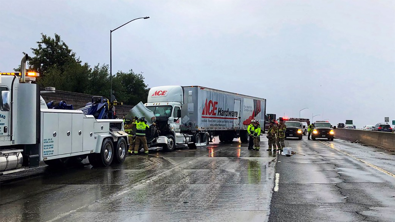 Big rig crash on Hwy 242 in Concord, California on Thursday, January 17, 2019.