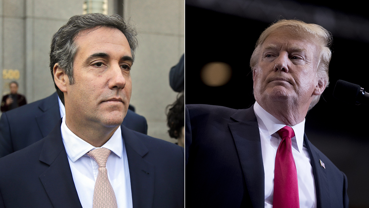 (Left) File photo and attorney Michael Cohen and (right) file photo of President Donald Trump.