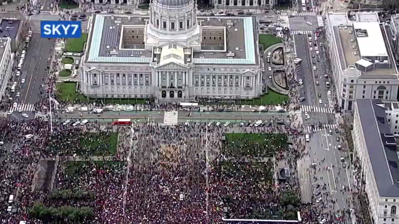 SKY7 captured this photo of the Womens March in San Francisco in 2018.