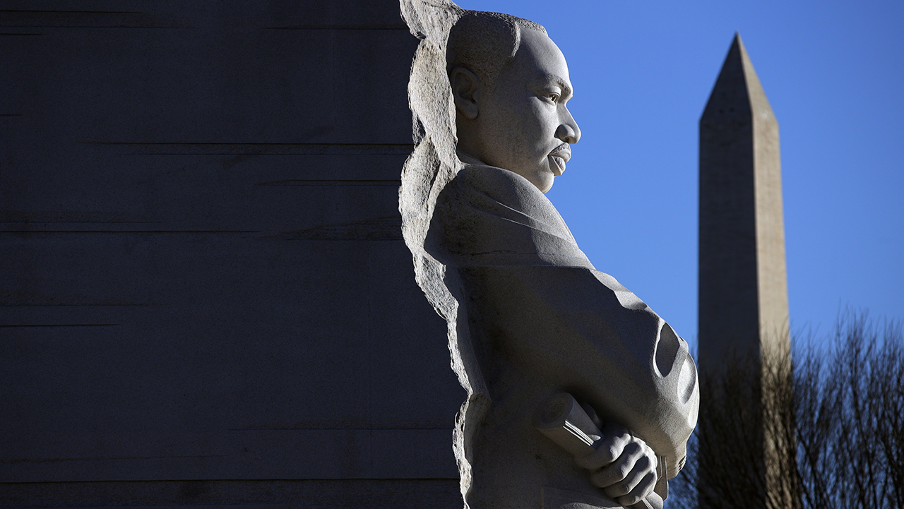 The Martin Luther King, Jr. Memorial on MLK Day, Monday, Jan. 21, 2019, in Washington, with the Washington monument, rear.