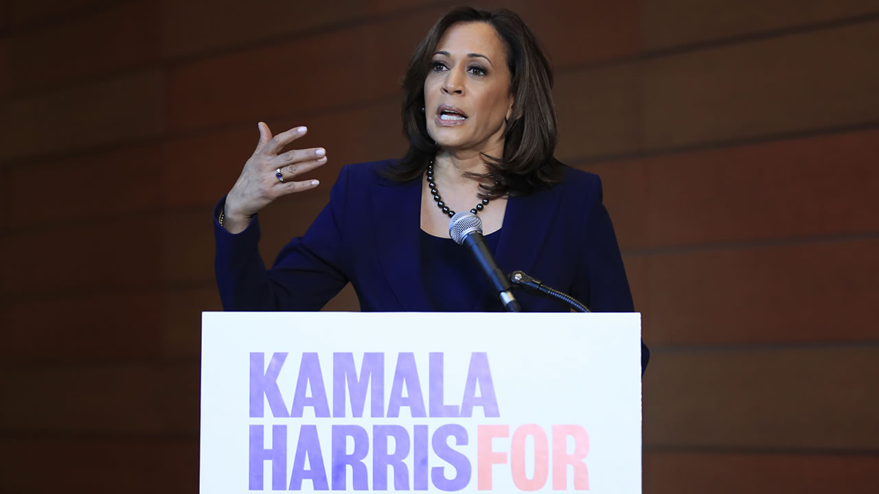 Sen. Kamala Harris, D-Calif., speaks to members of the media at her alma mater, Howard University, Monday, Jan. 21, 2019 in Washington.