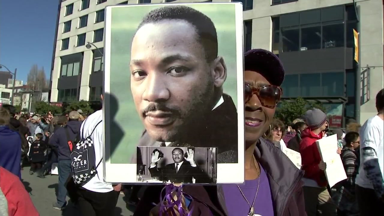 Hundreds participated in a march honoring Dr. Martin Luther King Jr. in San Francisco. Monday, Jan. 21, 2019