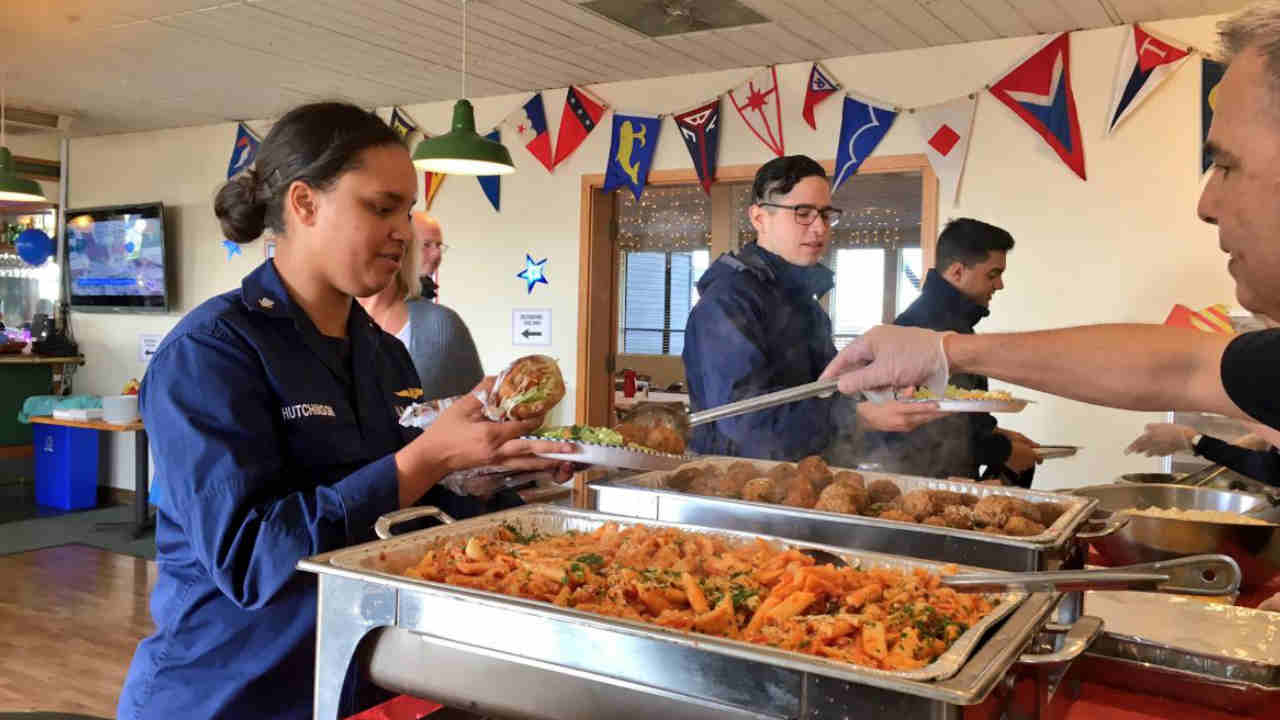 Food is seen being served to Coast Guard members in Alameda, Calif. on Tuesday, Jan. 22, 2019.