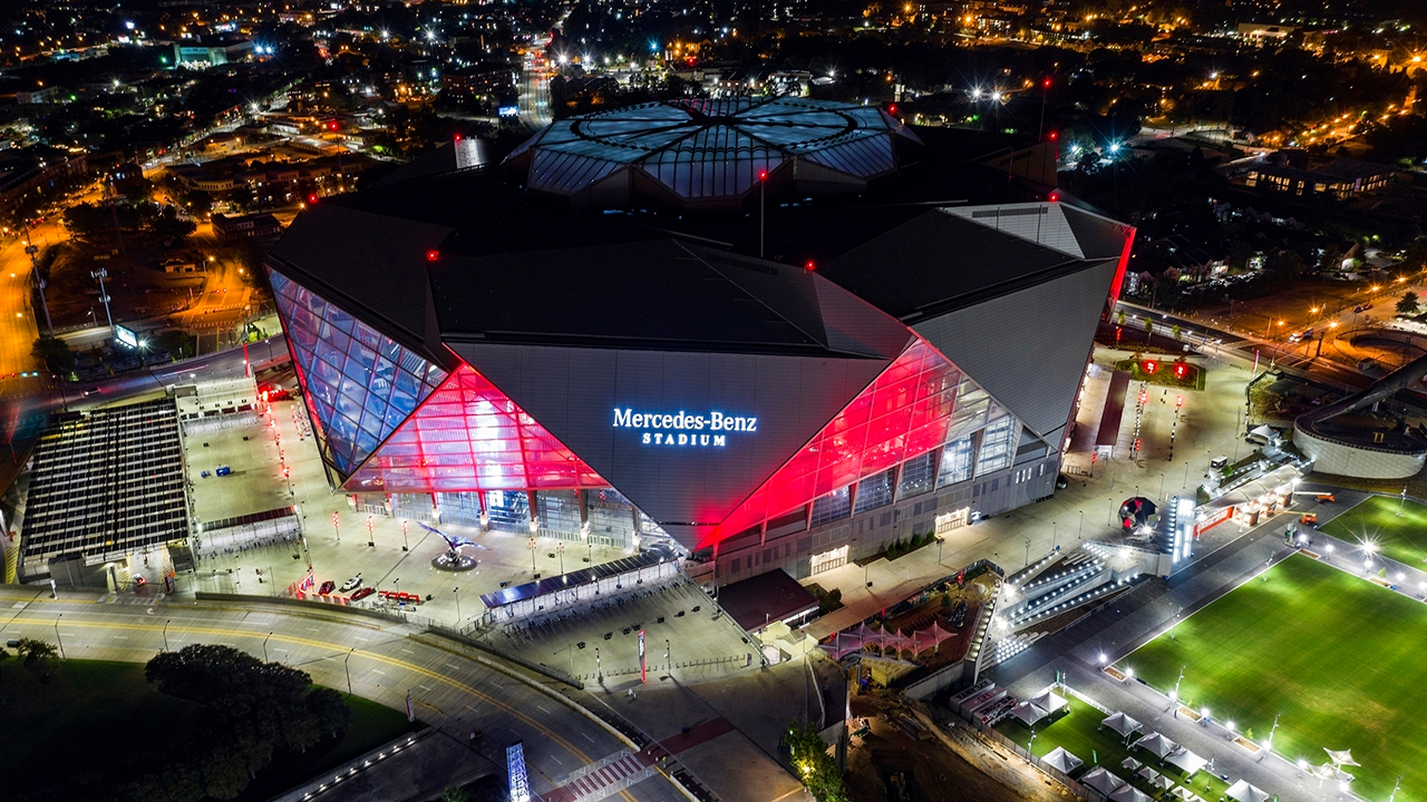 In this Friday, Sep. 21, 2018, photo, Mercedes-Benz Stadium is seen in this aerial photo in Atlanta.