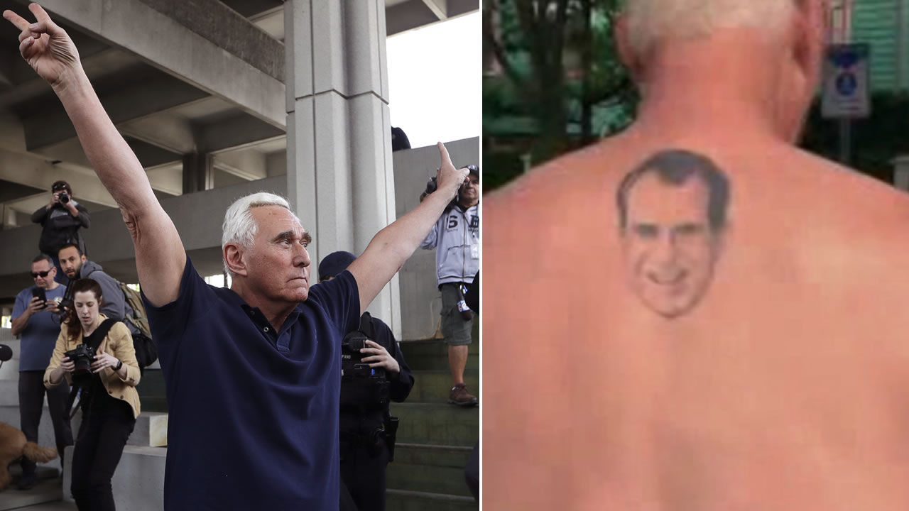 Former campaign adviser for President Donald Trump, Roger Stone leaves the federal courthouse following a hearing, left, and Stone shows off his Richard Nixon tattoo, right.
