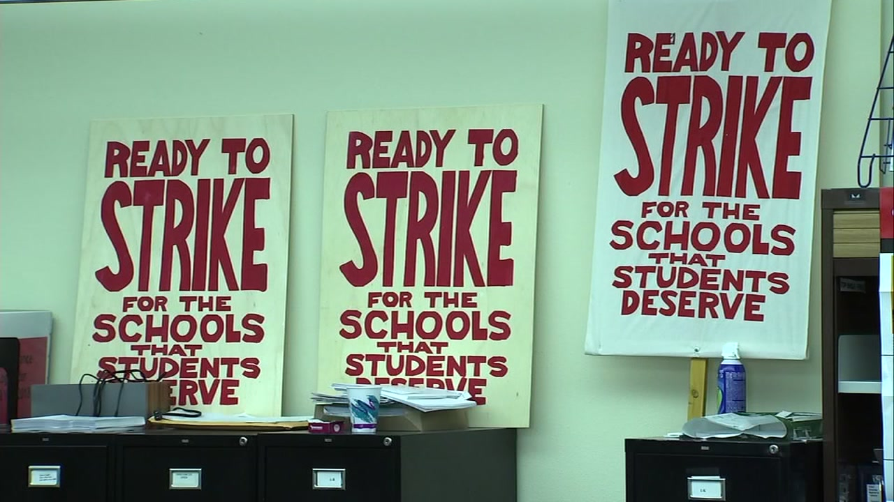 Signs gathered as Oakland school teachers vote on a possible strike. Jan. 29, 2019