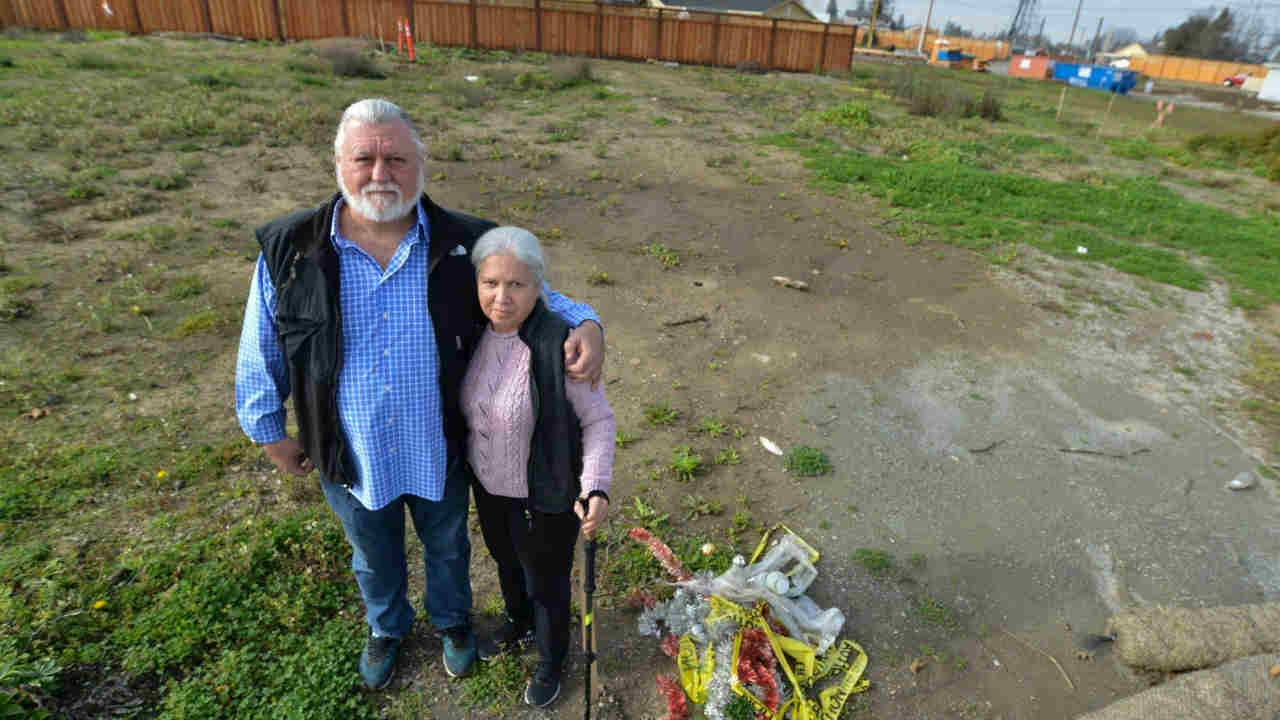 Earl and Bonnie Small are seen on the lot where their home once stood in Santa Rosa, Calif. on Tuesday, Jan. 29, 2019.