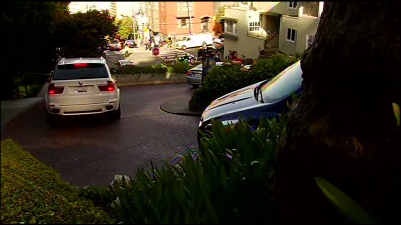 Cars are seen driving down Lombard Street in San Francisco in this undated image.