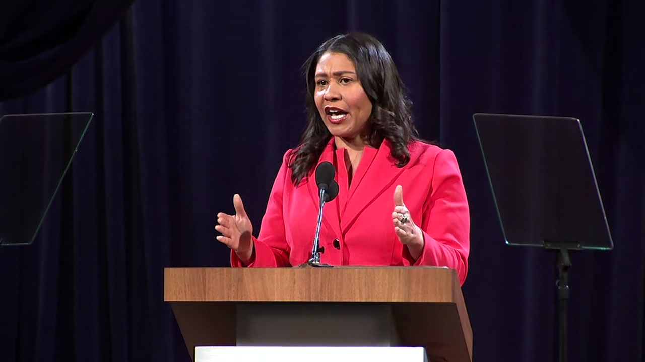 Mayor London Breed delivers the State of the City address in San Francisco on Wednesday, January 30, 2019.
