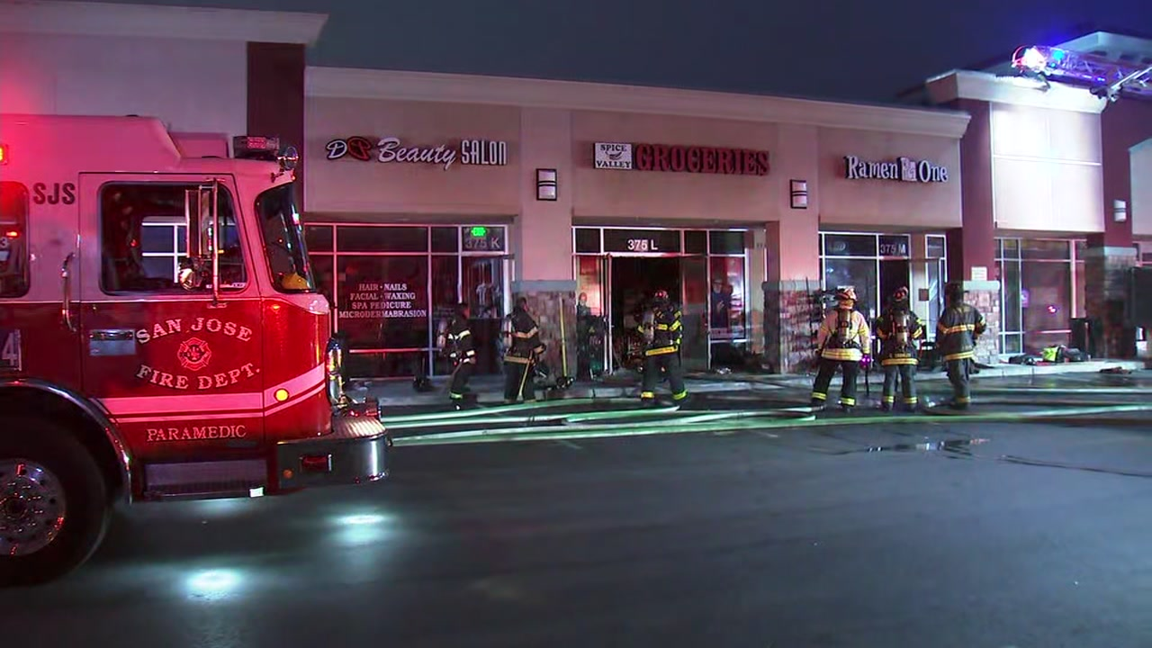 Firefighters battle fire at strip mall in San Jose on Wednesday, January 30, 2019.
