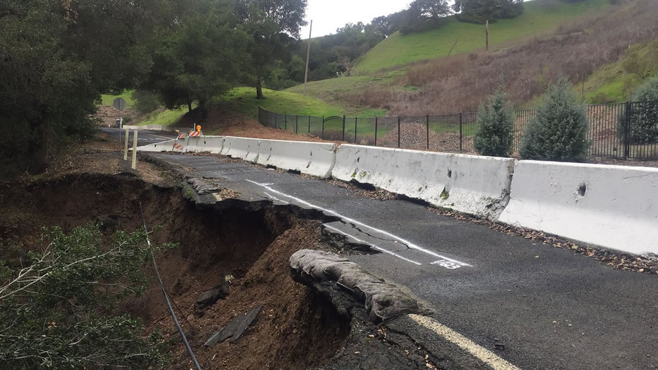 Public works crews will watch this section of Alhambra Valley Rd. in Martinez, Calif. that was washed out in winter 2017.