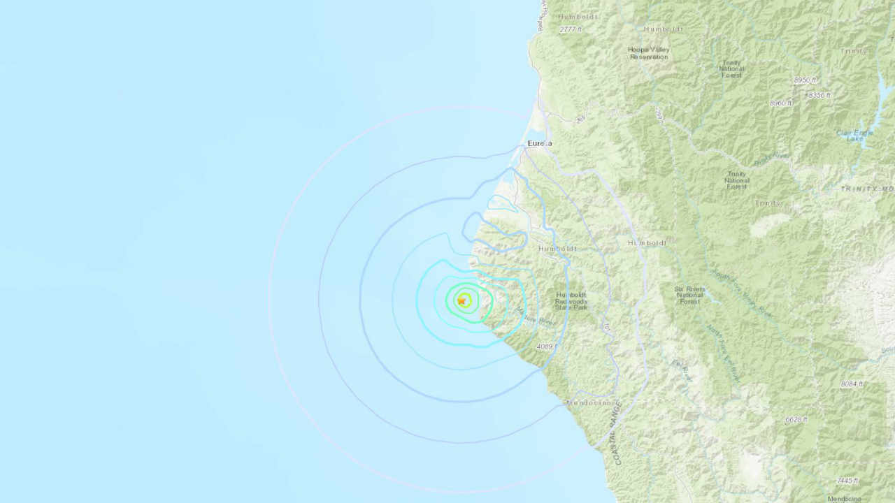 This USGS map shows the location of an earthquake on Sunday, Feb. 3, 2019.