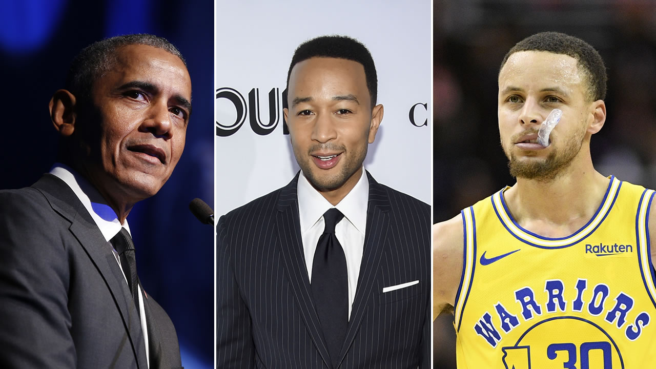 Barack Obama, John Legend and Stephen Curry are pictured next to each other.