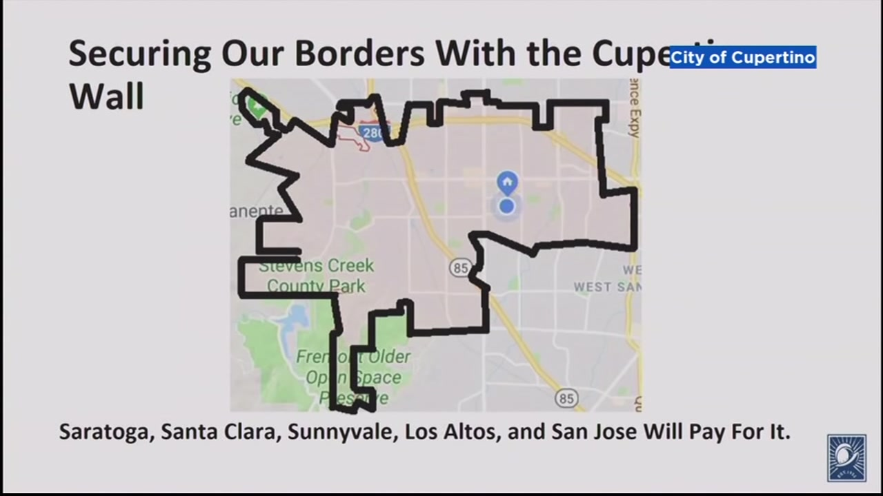 This undated image shows a border wall around the city of Cupertino, California.