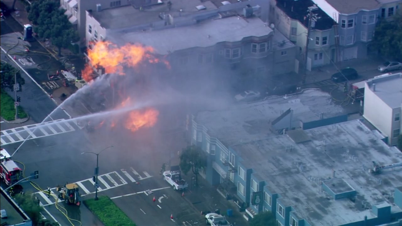 This image shows crews responding to a gas explosion and fire in the Richmond District of San Francisco, Calif. on Wednesday, Feb. 06, 2019.