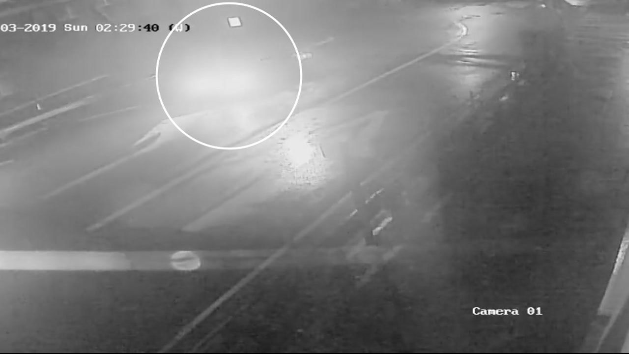 This surveillance image possibly shows the vehicle involved in a deadly wrong-way crash getting on the freeway in the wrong direction in San Francisco on Sunday, Feb. 3, 2019.