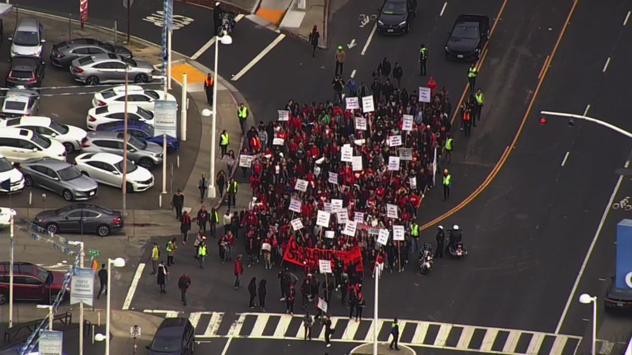 Students march in support of teachers in Oakland, California on Friday, February 8, 2019.