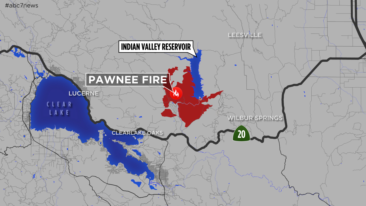 Clear Lake Fire Map MAPS: A look at the 'Pawnee Fire' burning in Lake County near
