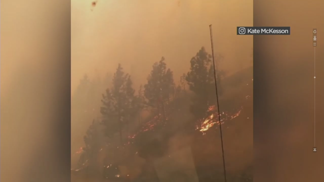 This image shows a wildfire burning alongside I-5 in Shasta County, Calif. on Sept. 5, 2018.