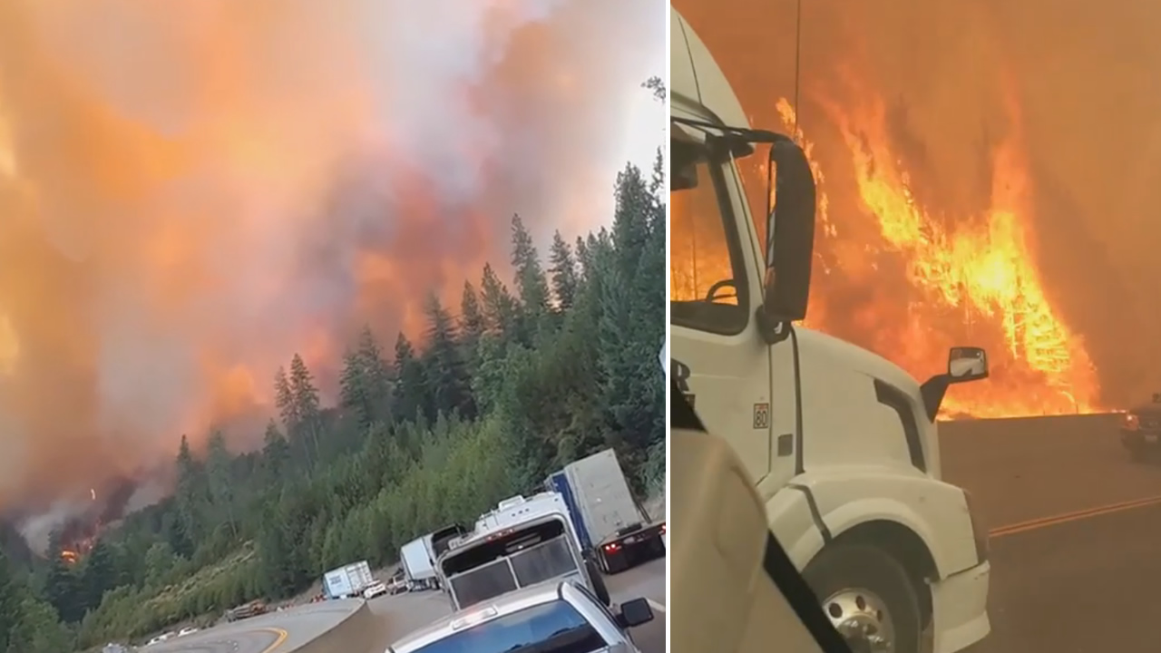 These images show drivers escaping a wildfire near Redding, Calif. on Sept. 5, 2018.