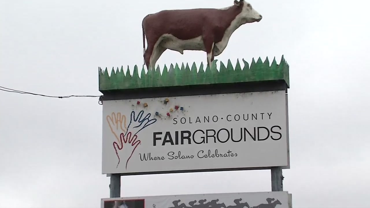 A sign for the Solano County Fairgrounds is seen in Vallejo, Calif. on Sept. 6, 2018.