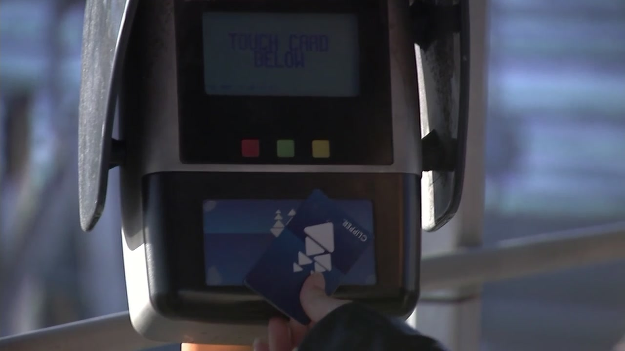 A Bay Area public transit customer uses a Clipper card on Sept. 7, 2018.