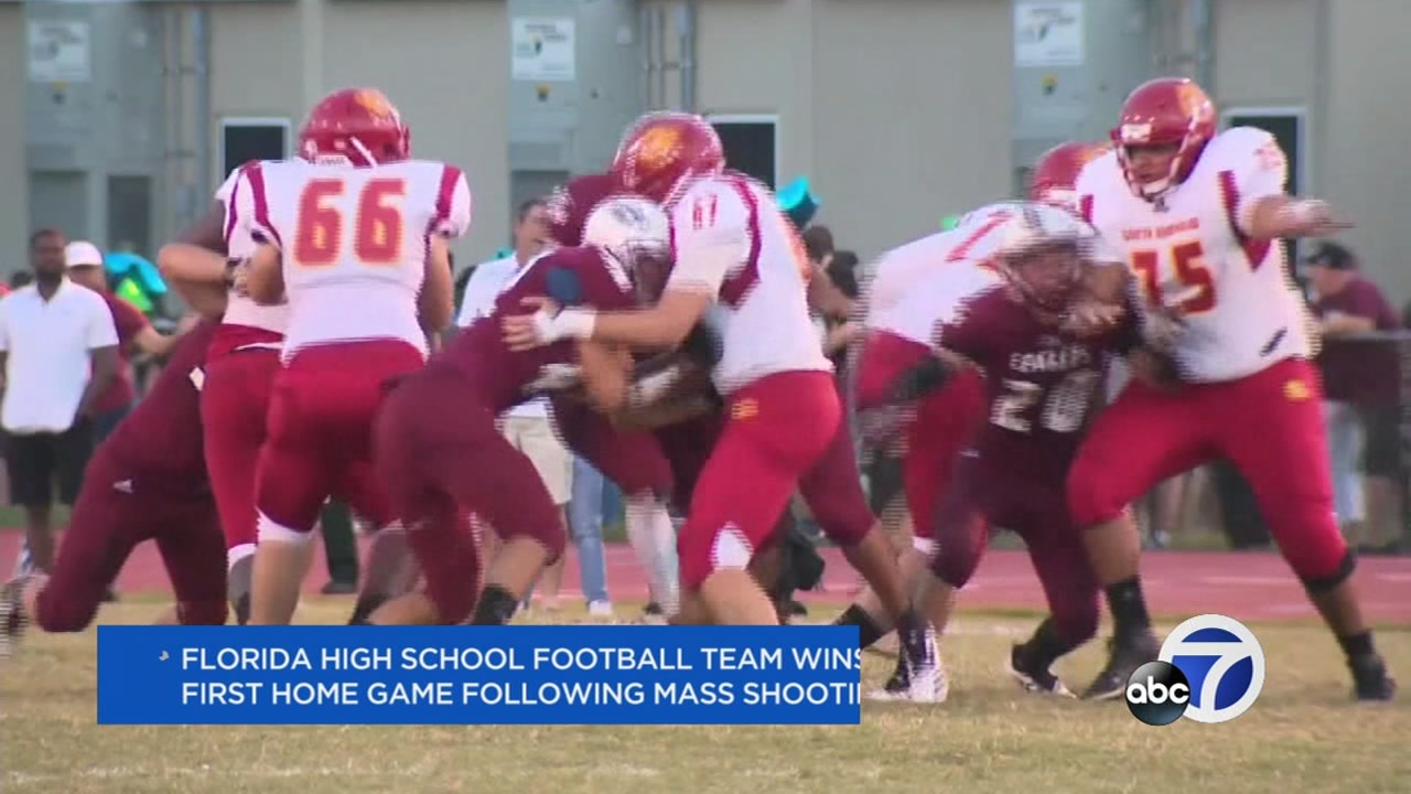The Marjory Stoneman Douglas High School football team won its first home game since the Parkland tragedy on Sept. 7, 2018.