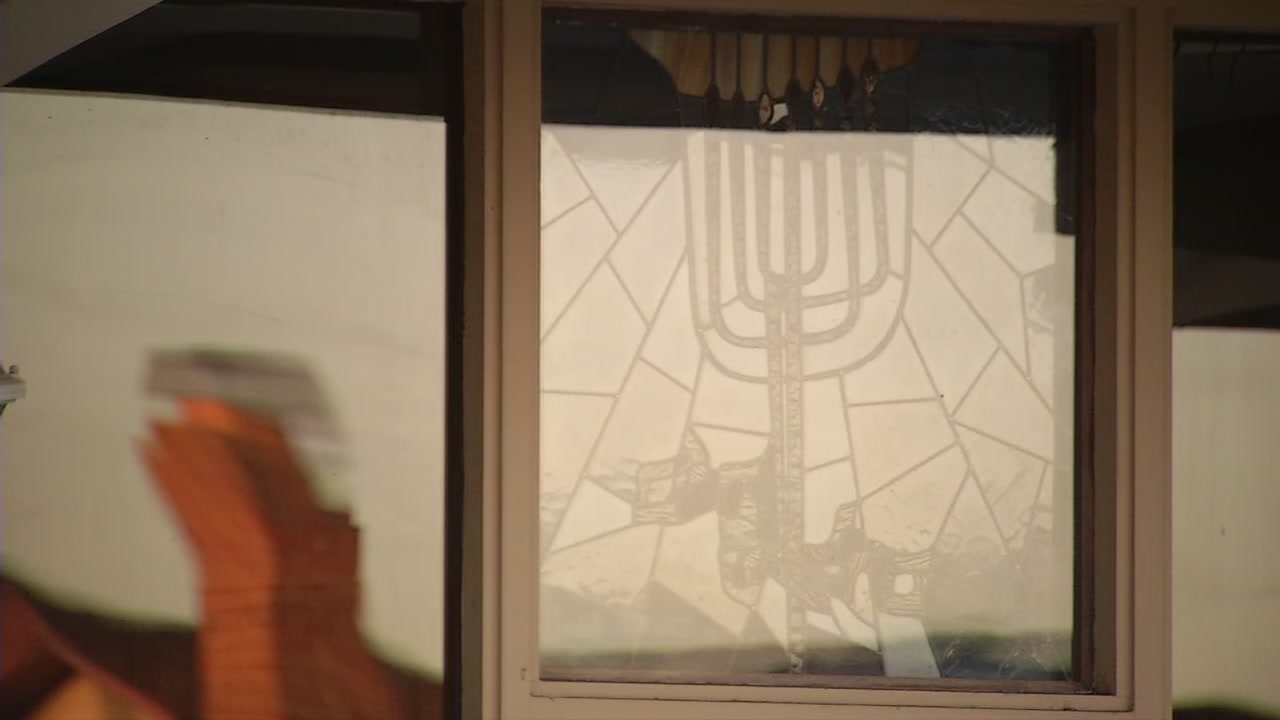 A window at Temple Beth Sholom in San Leandro, Calif., on Sept. 8, 2018.