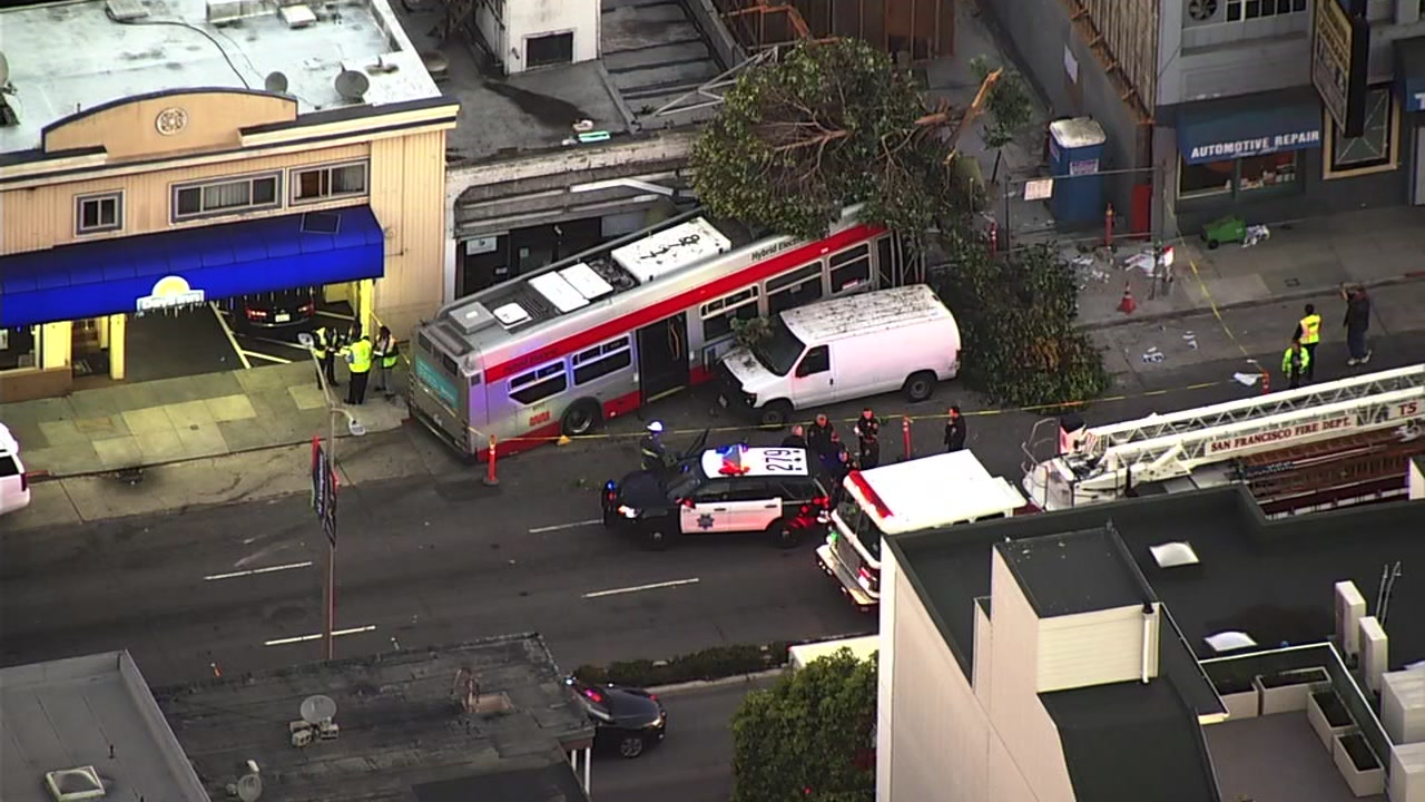 SKY7 was over a Muni bus that crashed into a dry cleaning business in San Franciscos Marina District on Monday, Sept. 10, 2018.