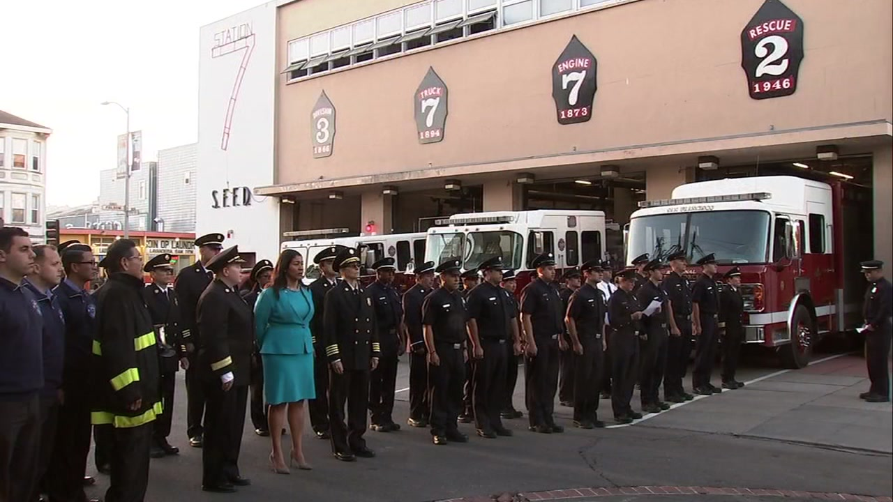 Firefighters and Mayor London Breed hold moment of silence to remember victims of terror attacks.