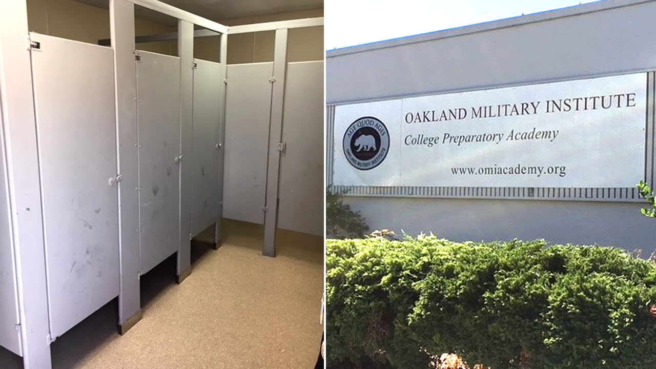 These undated images show a bathroom and a sign at Oakland Military Institute in Oakland, Calif.