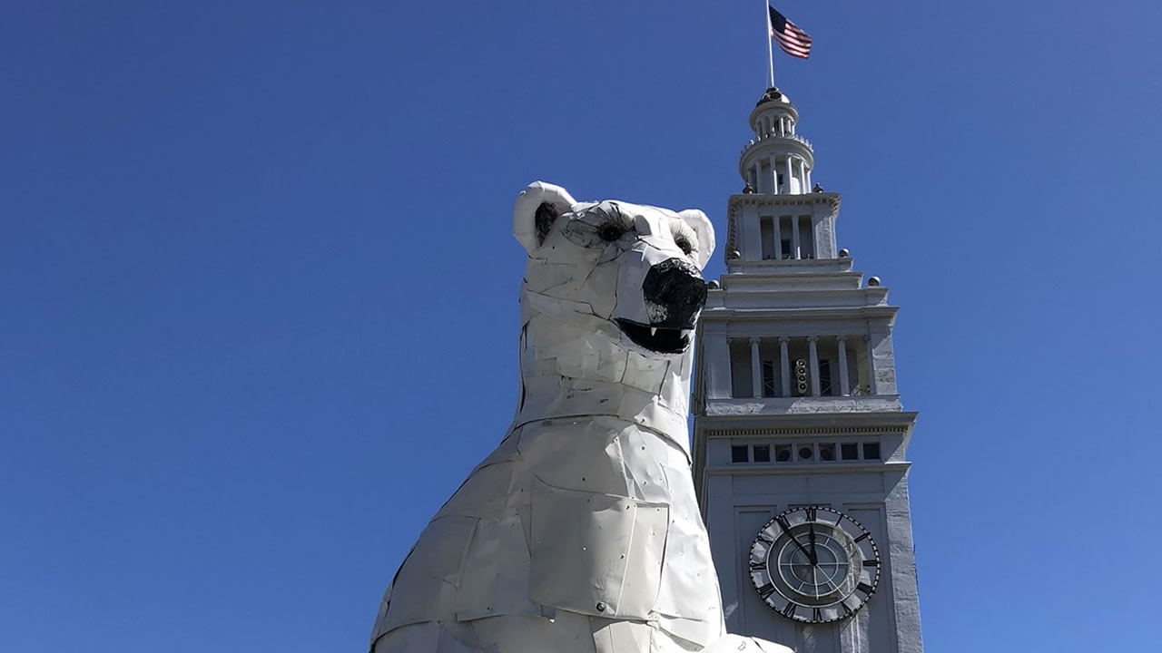 A polar bear stands guard at San Franciscos Ferry Building on Thursday, Sept. 13, 2018.