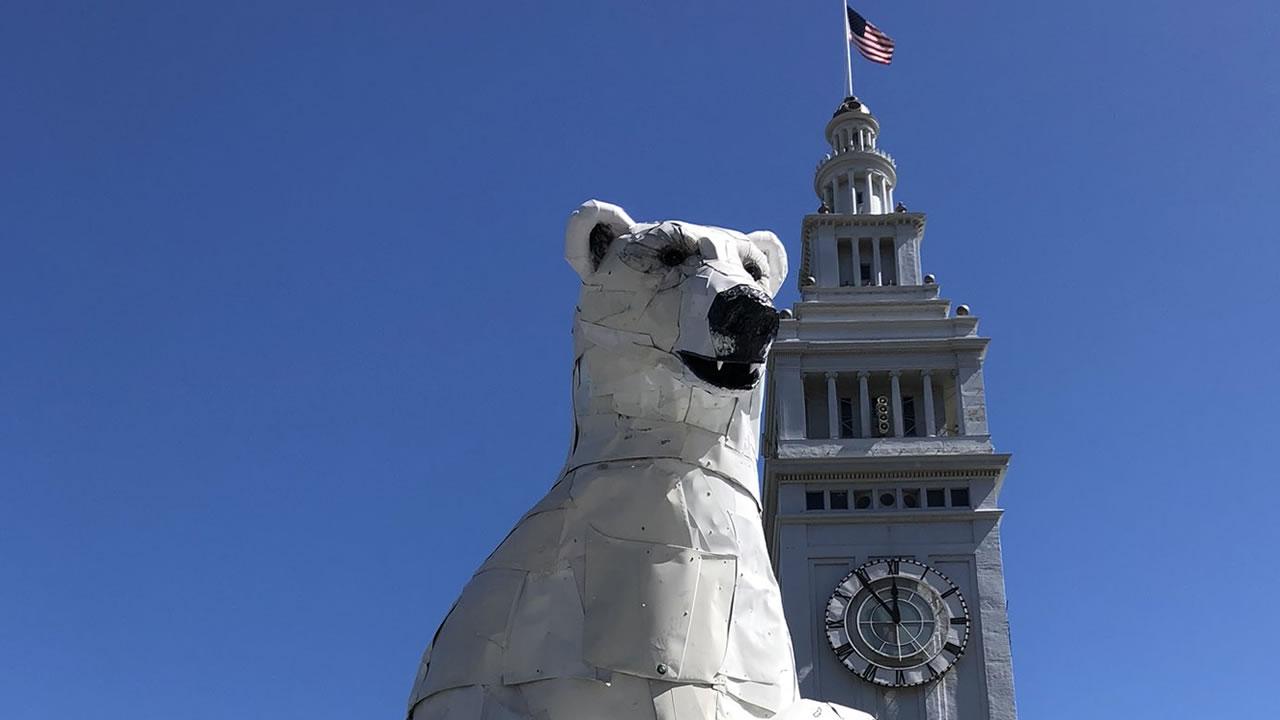 A polar bear stands guard at San Franciscos Ferry Building on Thursday, Sept. 13, 2018.