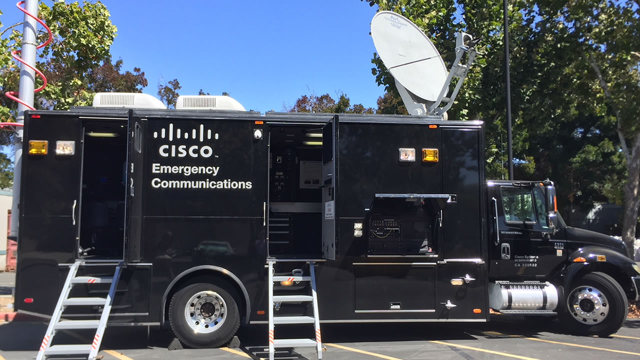 A Network Emergency Response Vehicles, or NERV, built by Cisco Systems is seen in San Jose, Calif. on Thursday, Sept. 13, 2018.