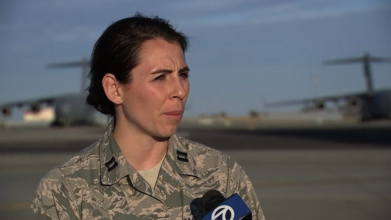 Capt. Lyndsey Horn speaks to ABC7 News at Travis Air Force Base in Fairfield, Calif., on Sept. 13, 2018.