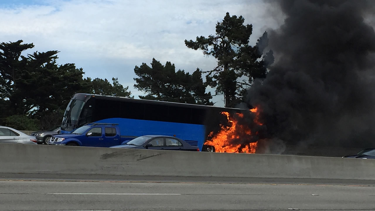 A bus caught fire on I-280 in South San Francisco, Calif. on Friday, Sept. 14, 2018.
