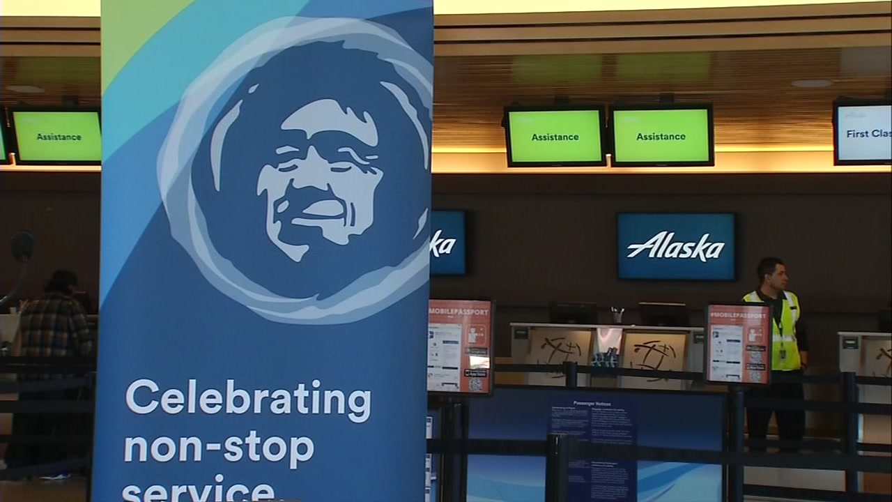 An Alaska Airlines counter is seen in this undated file photo.