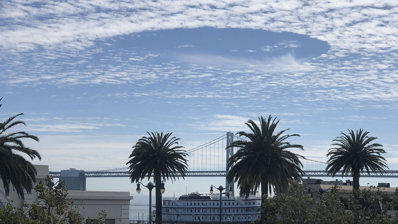 Fallstreak hole over San Francisco Bay on Friday, September 14, 2018.