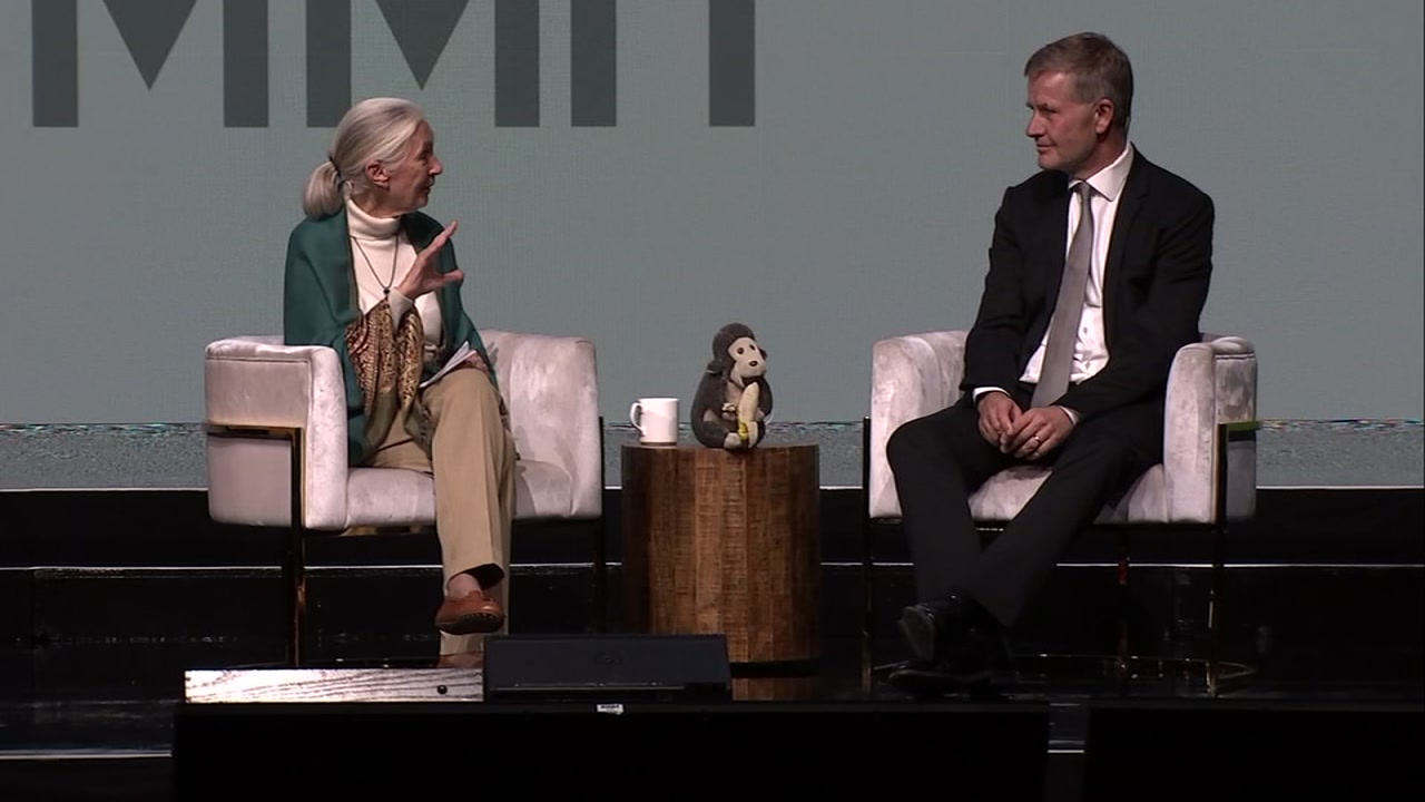 Jane Goodall speaks during the Global Climate Action Summit in San Francisco on Friday, Sept. 14, 2018.
