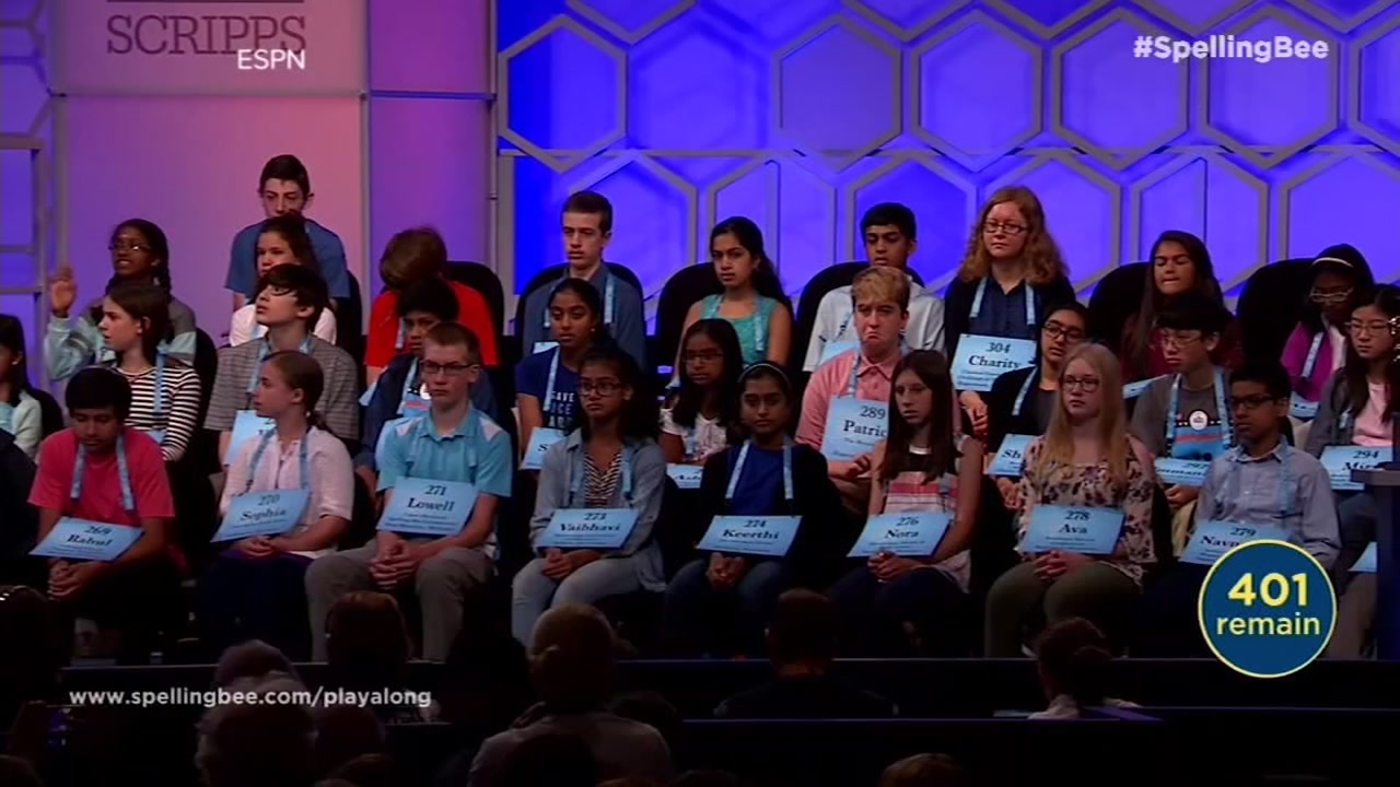This undated image shows contestants at the Scripps National Spelling Bee.