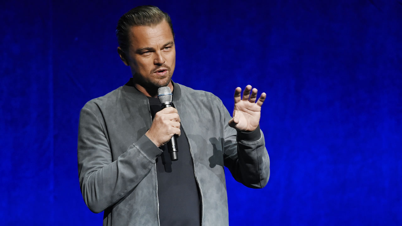 Leonardo DiCaprio speaks at the official convention of the National Association of Theatre Owners, at Caesars Palace on Monday, April 23, 2018, in Las Vegas.
